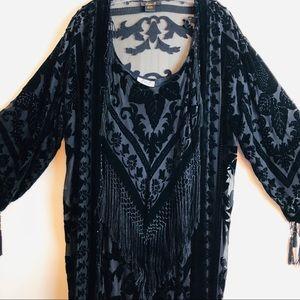 Ania A 2pc Black sheer-velvet damask print dresset